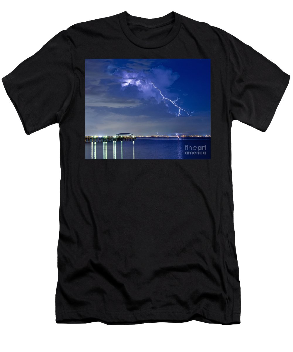 Lightning Men's T-Shirt (Athletic Fit) featuring the photograph Lightning Over Safety Harbor Pier by Stephen Whalen