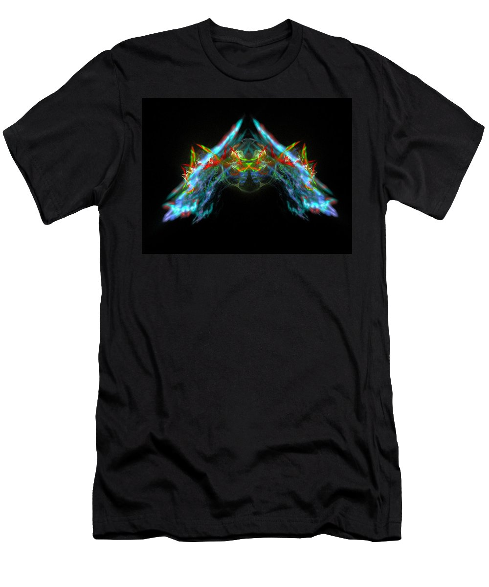 Fractal Men's T-Shirt (Athletic Fit) featuring the painting Lightning Storm by Bruce Nutting