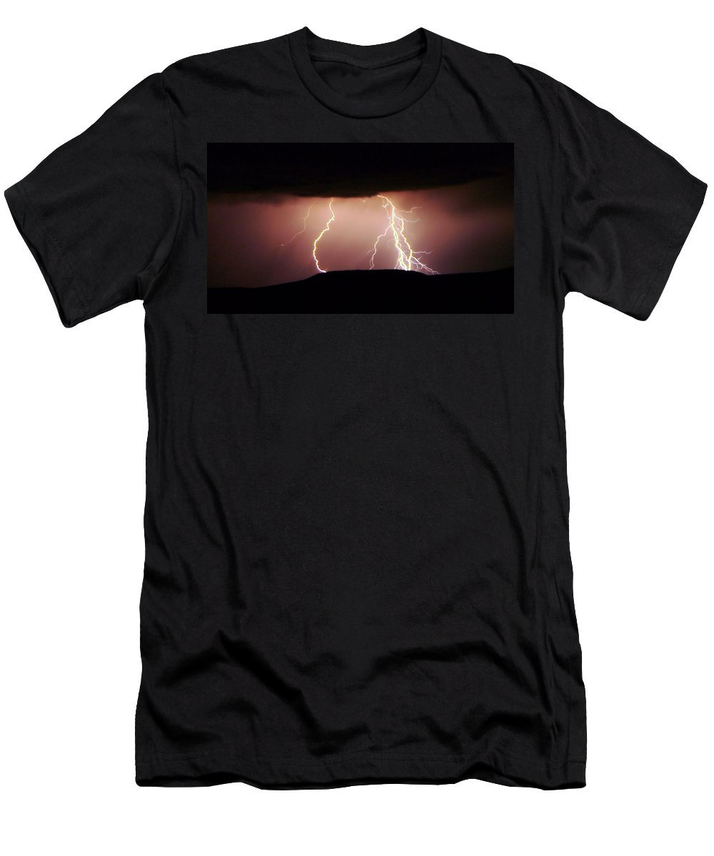 Lightning Men's T-Shirt (Athletic Fit) featuring the photograph Lightning Walking by Jeff Swan