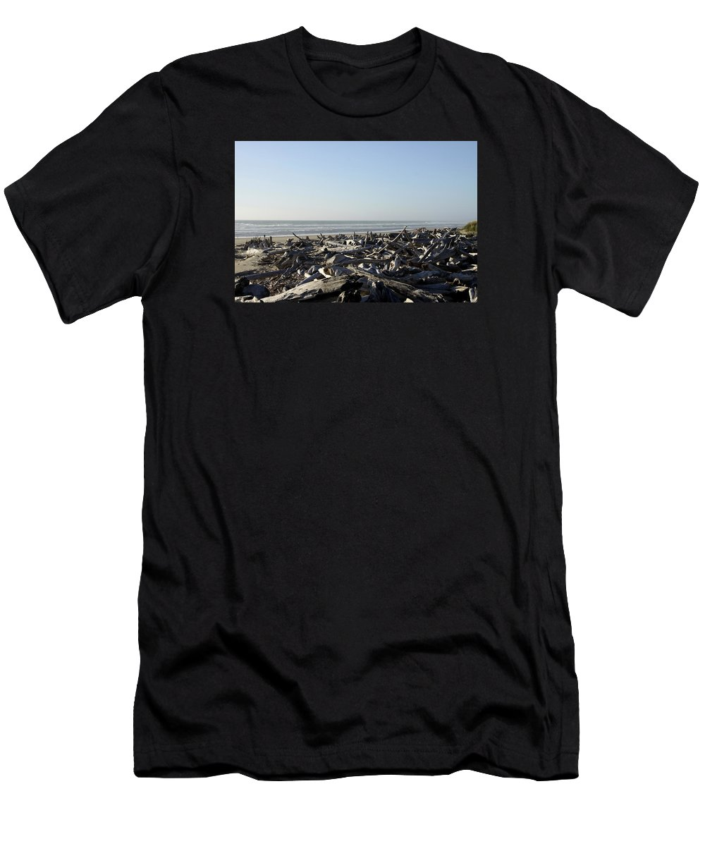 Bullards Beach State Park Men's T-Shirt (Athletic Fit) featuring the photograph A Trees Boneyard by Christiane Schulze Art And Photography