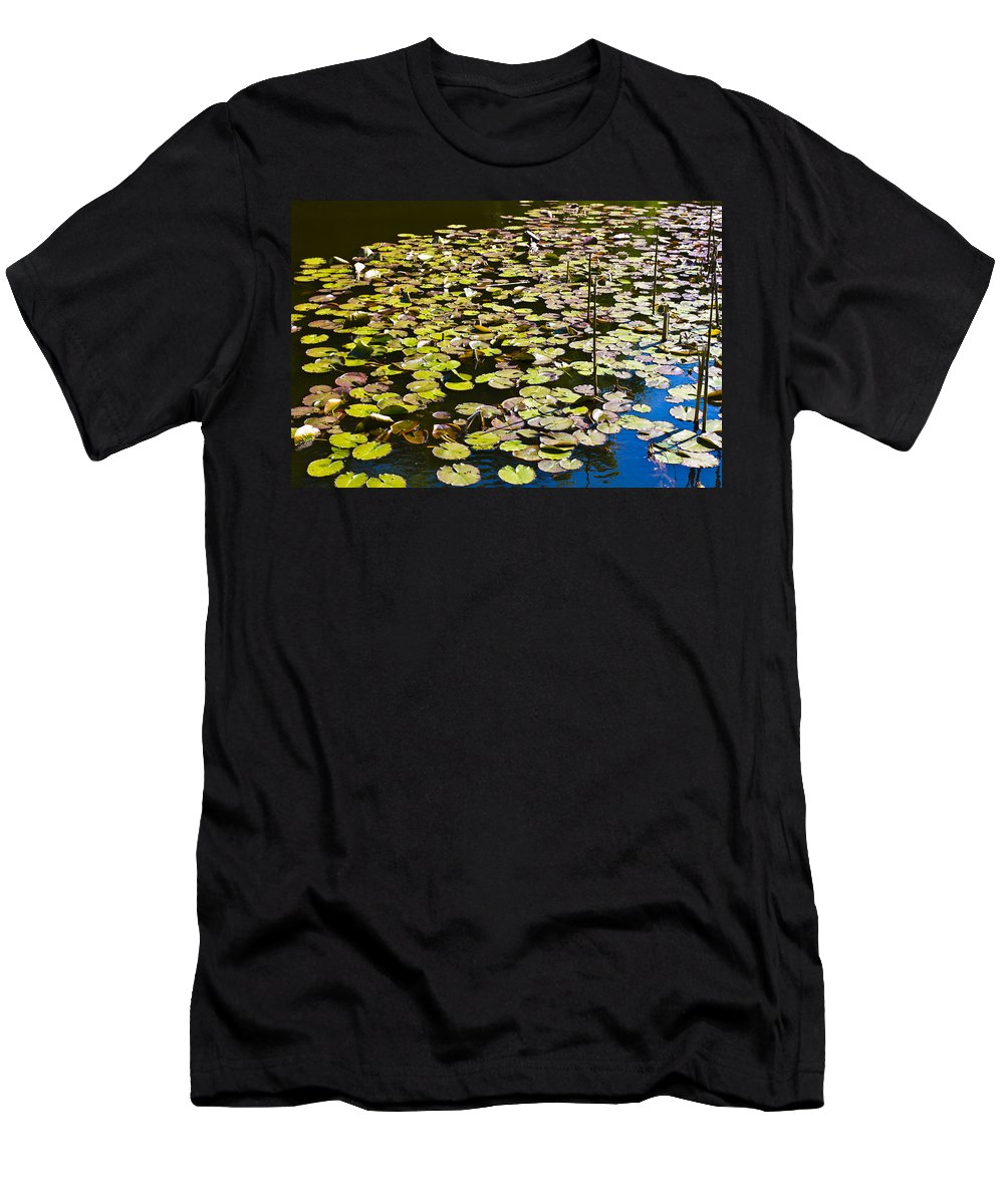 Pond Men's T-Shirt (Athletic Fit) featuring the photograph Lilly Pads by David Pyatt