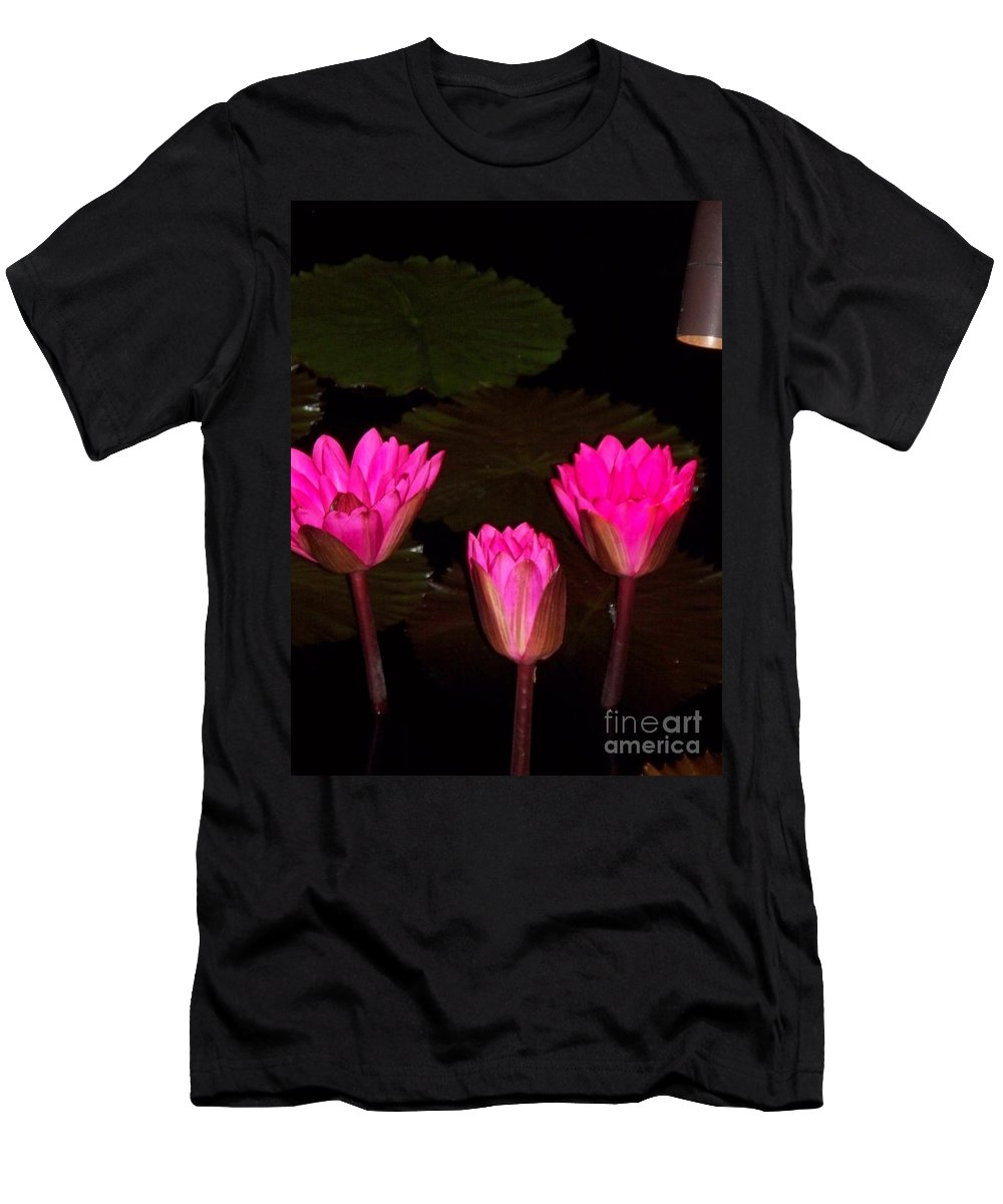 Water Lilies Men's T-Shirt (Athletic Fit) featuring the photograph Lily Night Time by Eric Schiabor