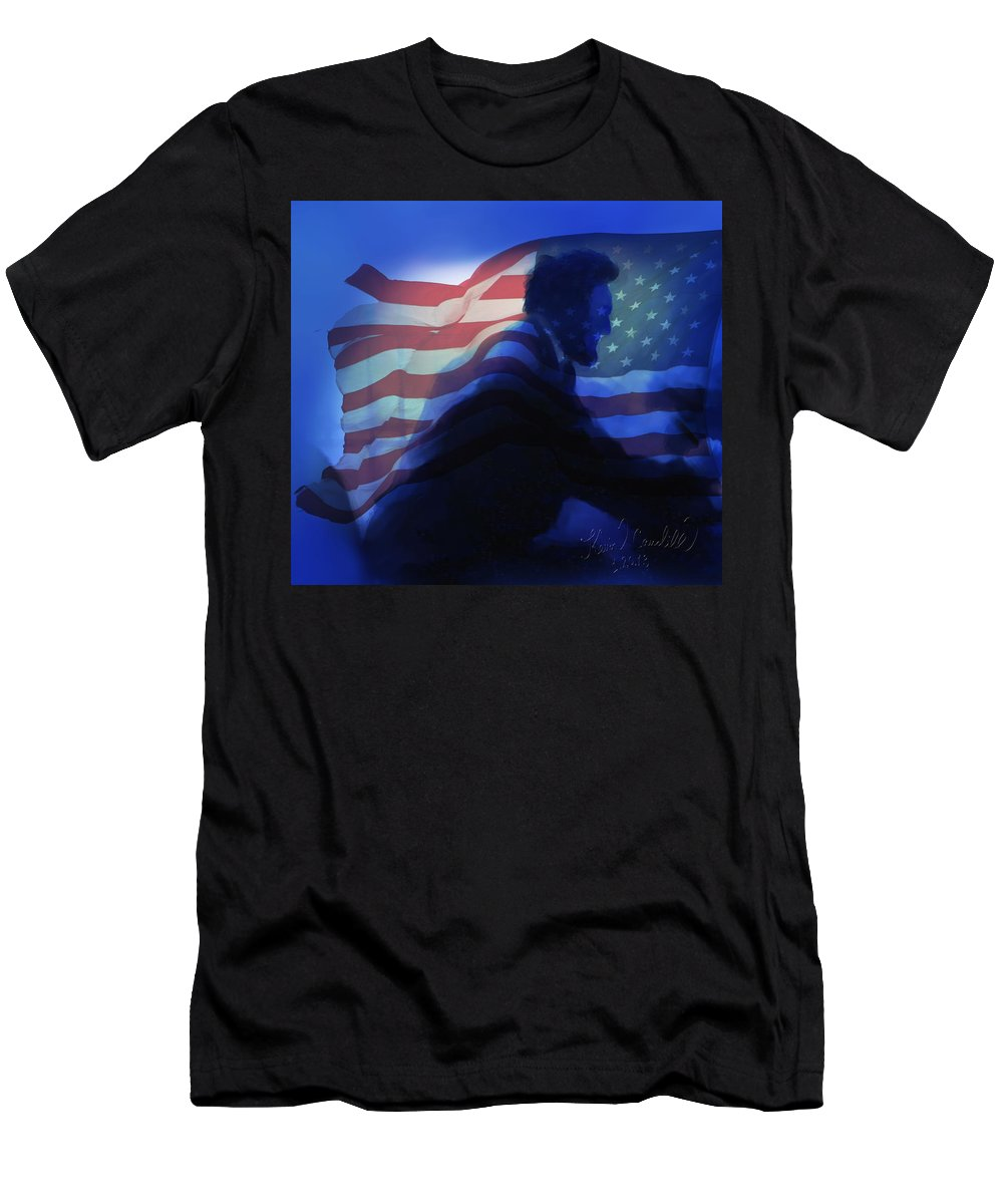 Abe Lincoln Men's T-Shirt (Athletic Fit) featuring the mixed media Lincoln by Kevin Caudill