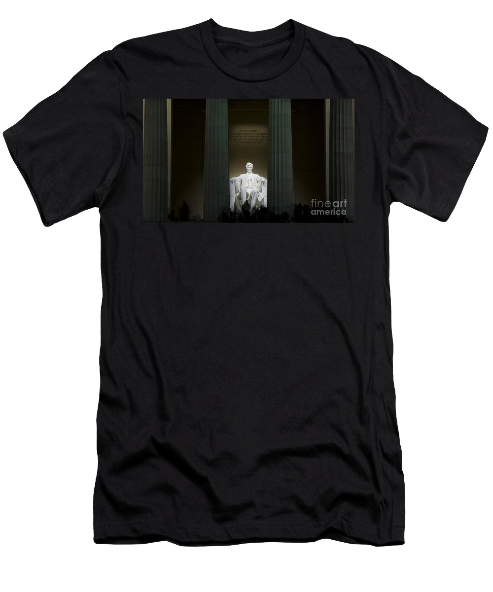 Abraham Men's T-Shirt (Athletic Fit) featuring the photograph Lincoln Memorial At Night by B Christopher