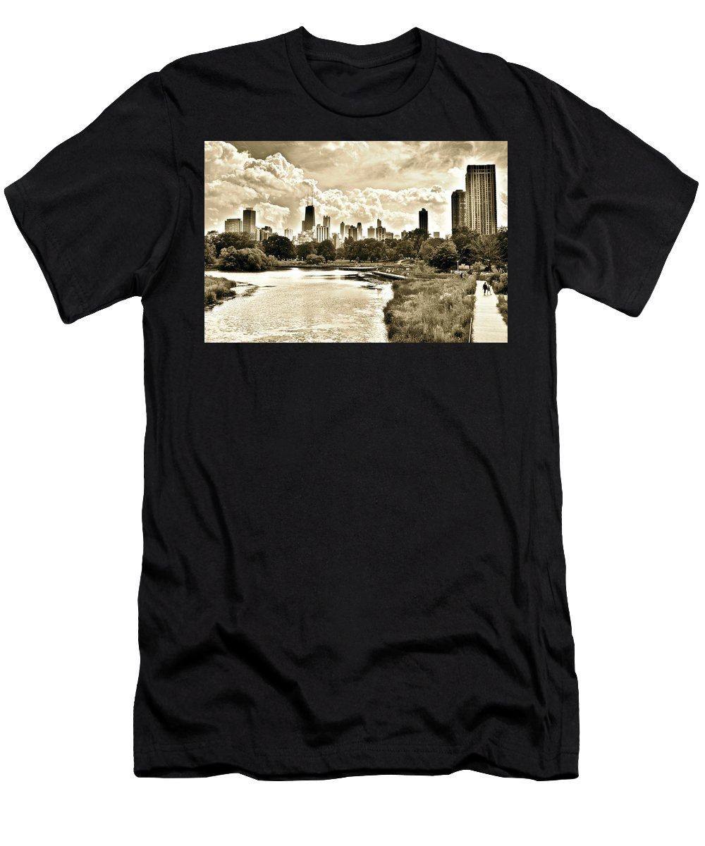 Lincoln Men's T-Shirt (Athletic Fit) featuring the photograph Lincoln Park View Sepia by Frozen in Time Fine Art Photography