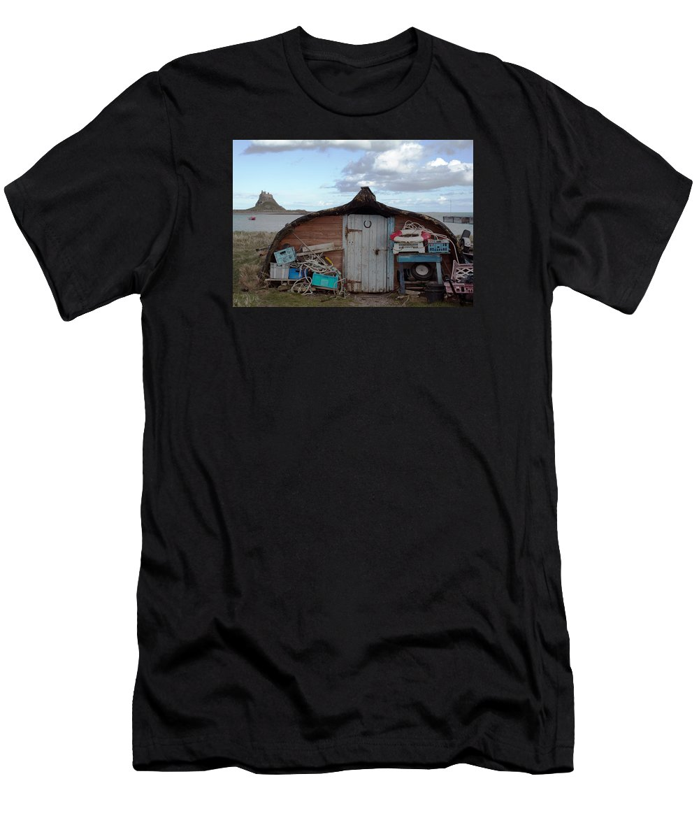 Boat Men's T-Shirt (Athletic Fit) featuring the photograph Lindisfarne Boat House Holy Island by Michelle Bailey