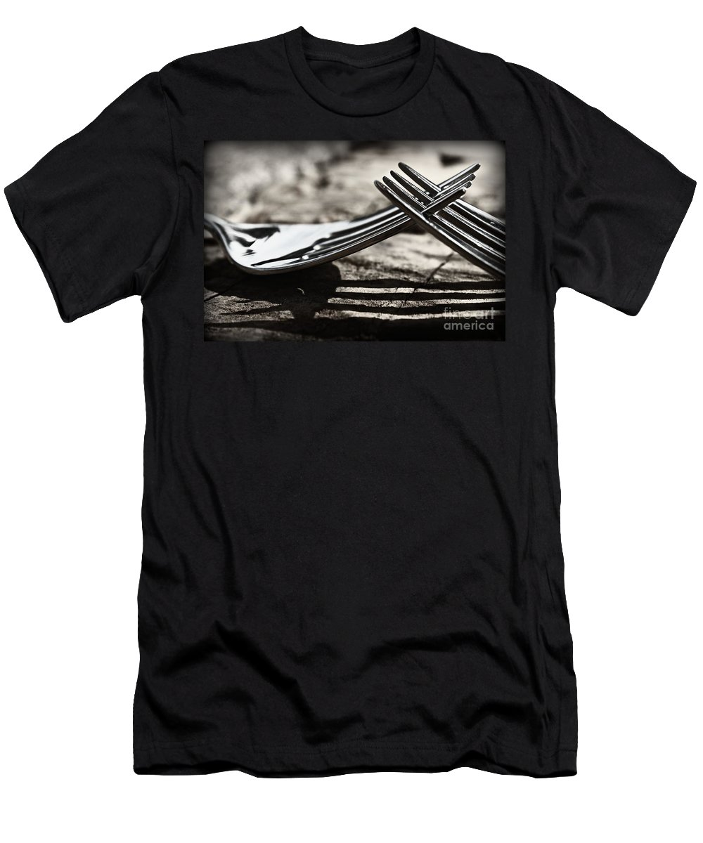 Forks Men's T-Shirt (Athletic Fit) featuring the photograph Lines And Shadows by Clare Bevan