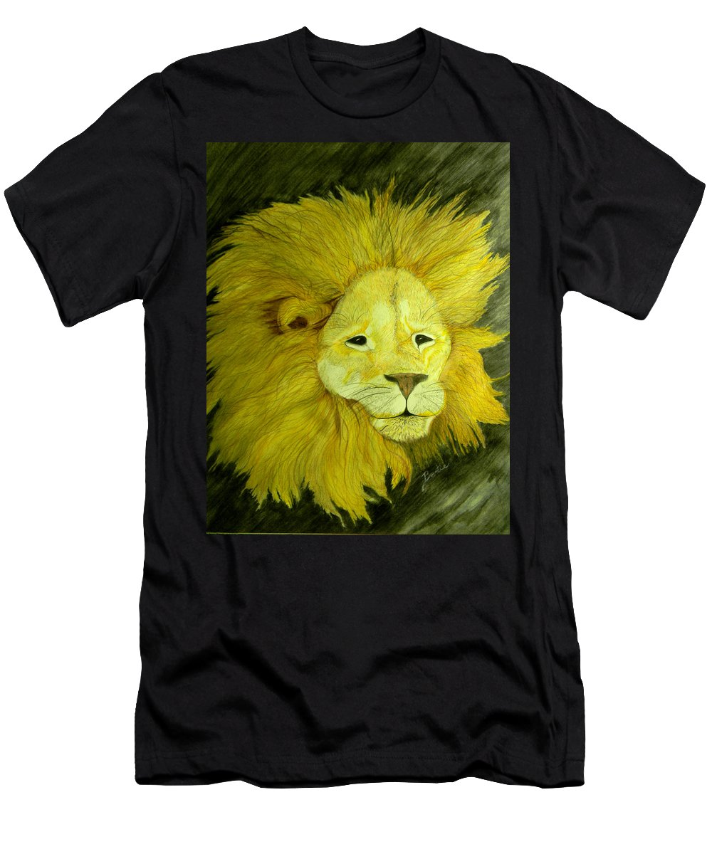 Lion Men's T-Shirt (Athletic Fit) featuring the painting Lion by Bertie Edwards