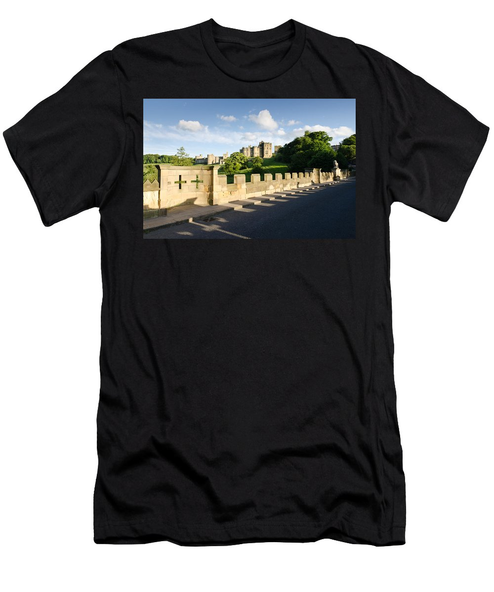 Northumberland Men's T-Shirt (Athletic Fit) featuring the photograph Lion Bridge At Alnwick Castle by David Head