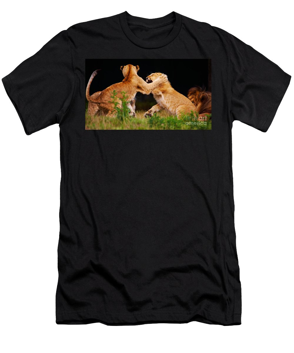 Lion Men's T-Shirt (Athletic Fit) featuring the photograph Lion Cubs Playing In The Grass by Nick Biemans
