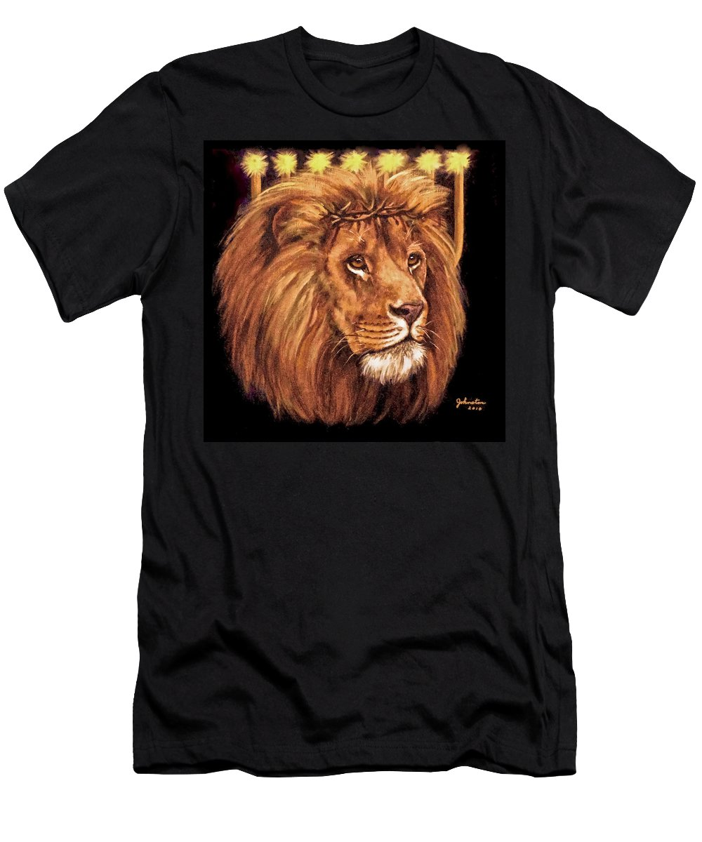 Animals Men's T-Shirt (Athletic Fit) featuring the painting Lion Of Judah - Menorah by Bob and Nadine Johnston