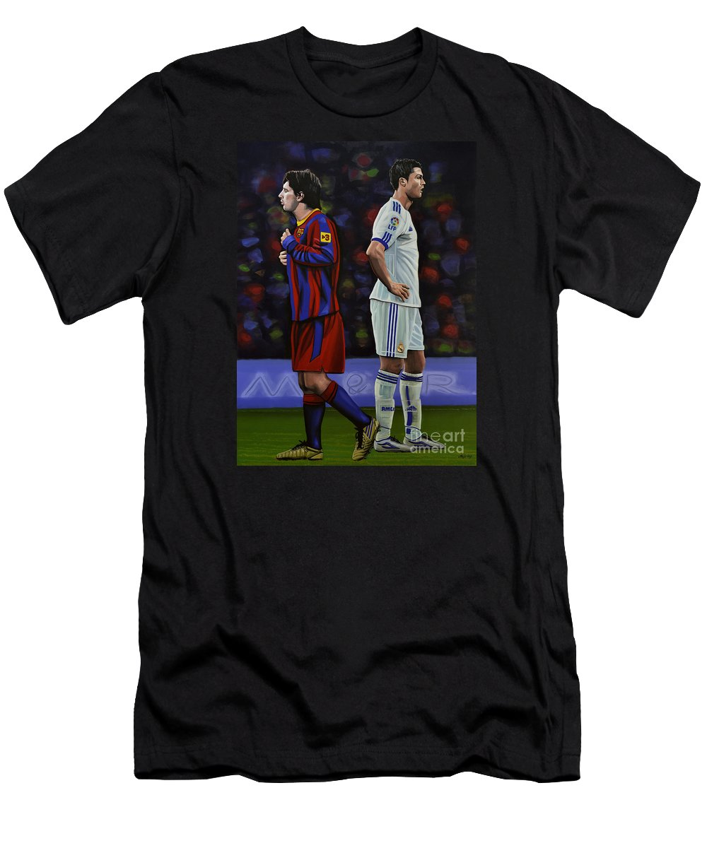 Lionel Messi T-Shirt featuring the painting Lionel Messi And Cristiano Ronaldo by Paul Meijering