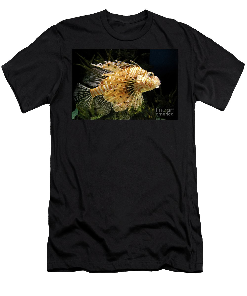 Lionfish Men's T-Shirt (Athletic Fit) featuring the photograph Lionfish Searching For Its Prey by Mariola Bitner