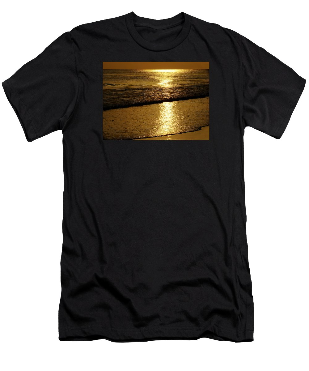 Panama City Beach Men's T-Shirt (Athletic Fit) featuring the photograph Liquid Gold by Sandy Keeton