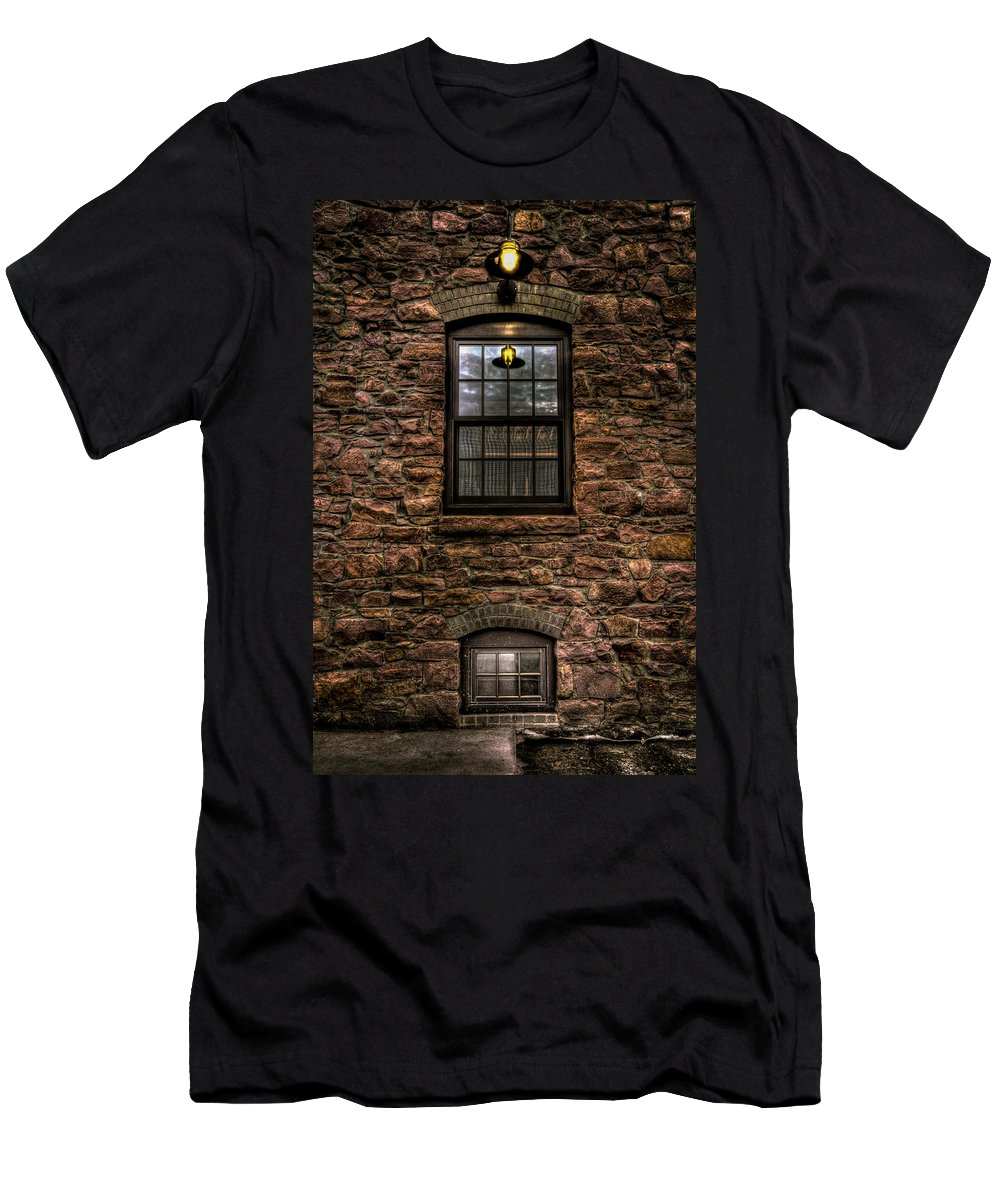 8th And Rr Men's T-Shirt (Athletic Fit) featuring the photograph Lit Window by Mike Oistad