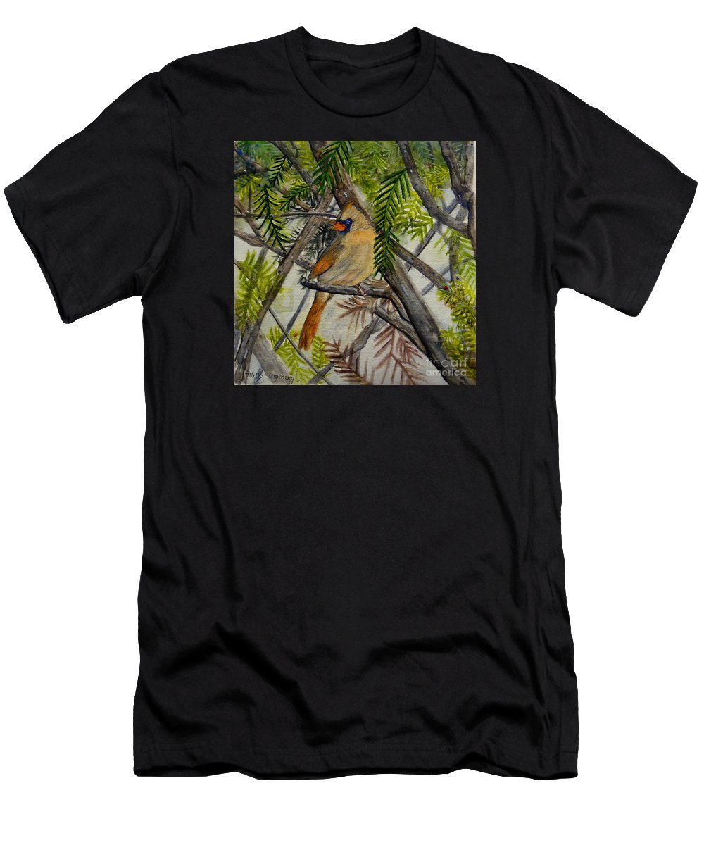 Cardinal Men's T-Shirt (Athletic Fit) featuring the painting Little Birdie by Melly Terpening