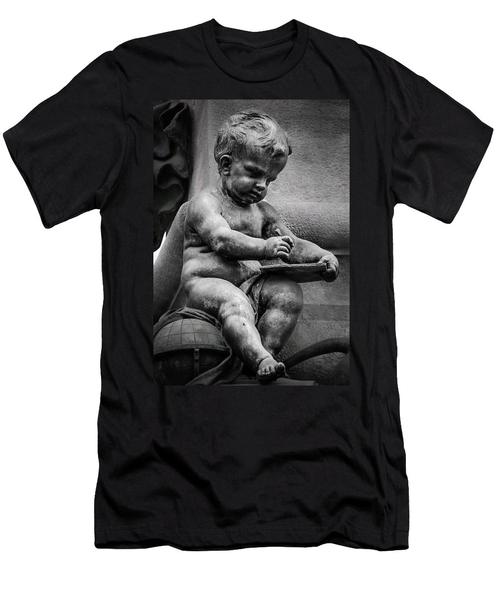 Child Men's T-Shirt (Athletic Fit) featuring the photograph Little Boy Made Of Stone by Sotiris Filippou