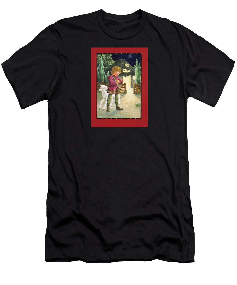 Christmas Men's T-Shirt (Athletic Fit) featuring the painting Little Drummer Boy by Lynn Bywaters