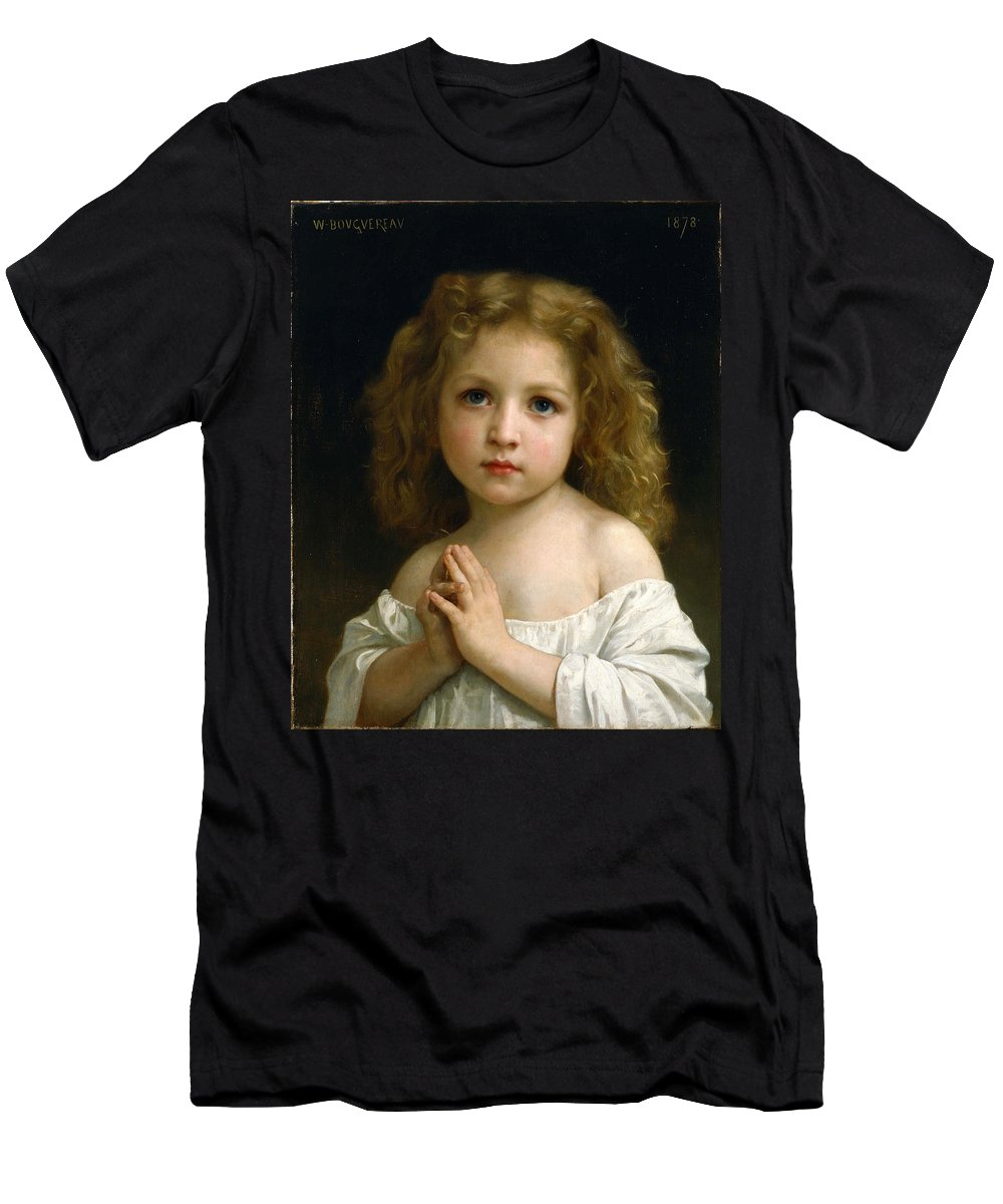 William-adolphe Bouguereau Men's T-Shirt (Athletic Fit) featuring the painting Little Girl by William-Adolphe Bouguereau