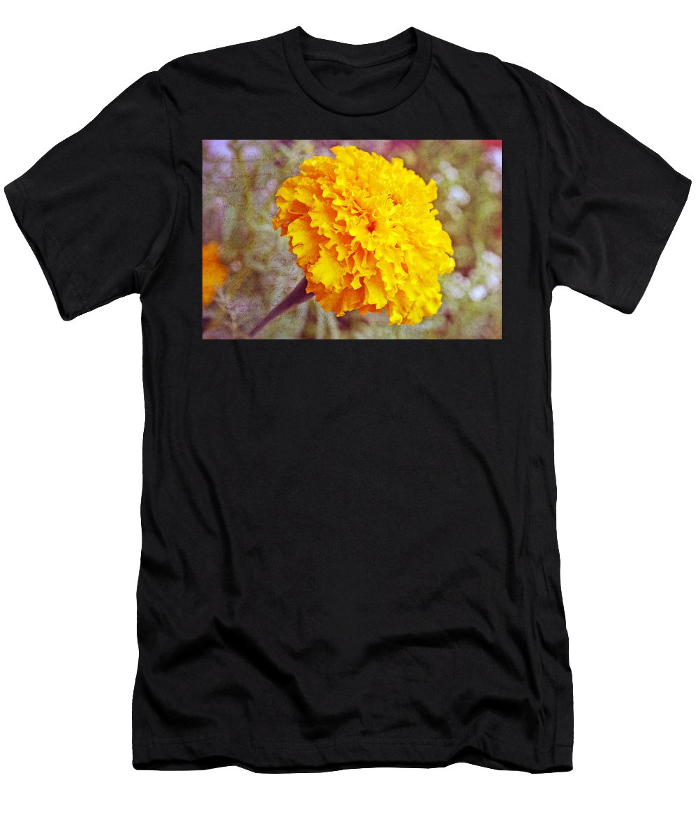 Nature Men's T-Shirt (Athletic Fit) featuring the photograph Little Golden Marigold by Kay Novy