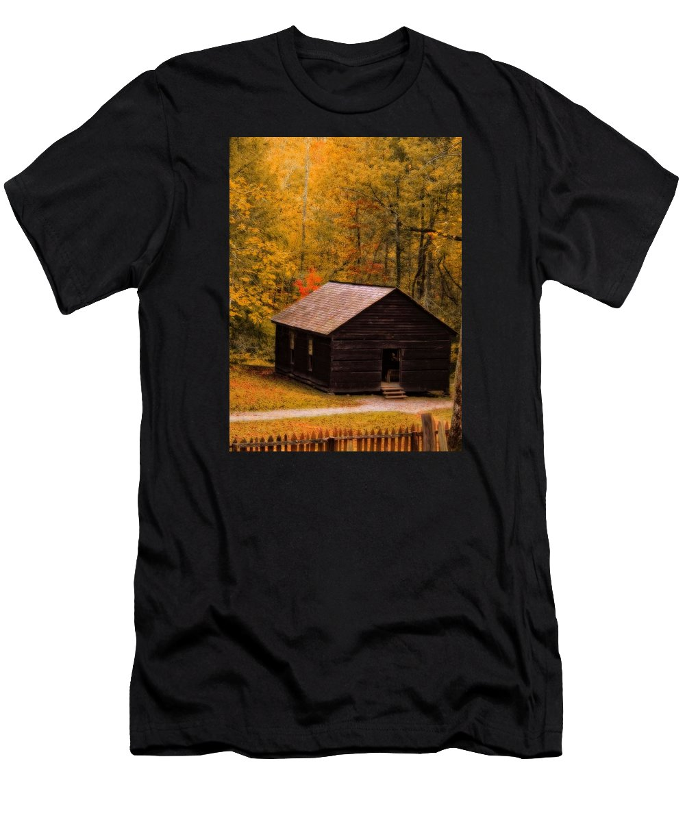 Little Greenbrier Schoolhouse In Autumn Men's T-Shirt (Athletic Fit) featuring the photograph Little Greenbrier Schoolhouse In Autumn by Dan Sproul