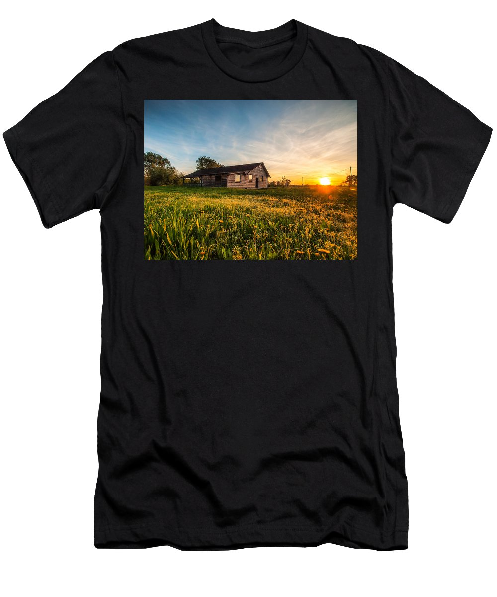 Landscapes Men's T-Shirt (Athletic Fit) featuring the photograph Little House On The Prairie by Davorin Mance