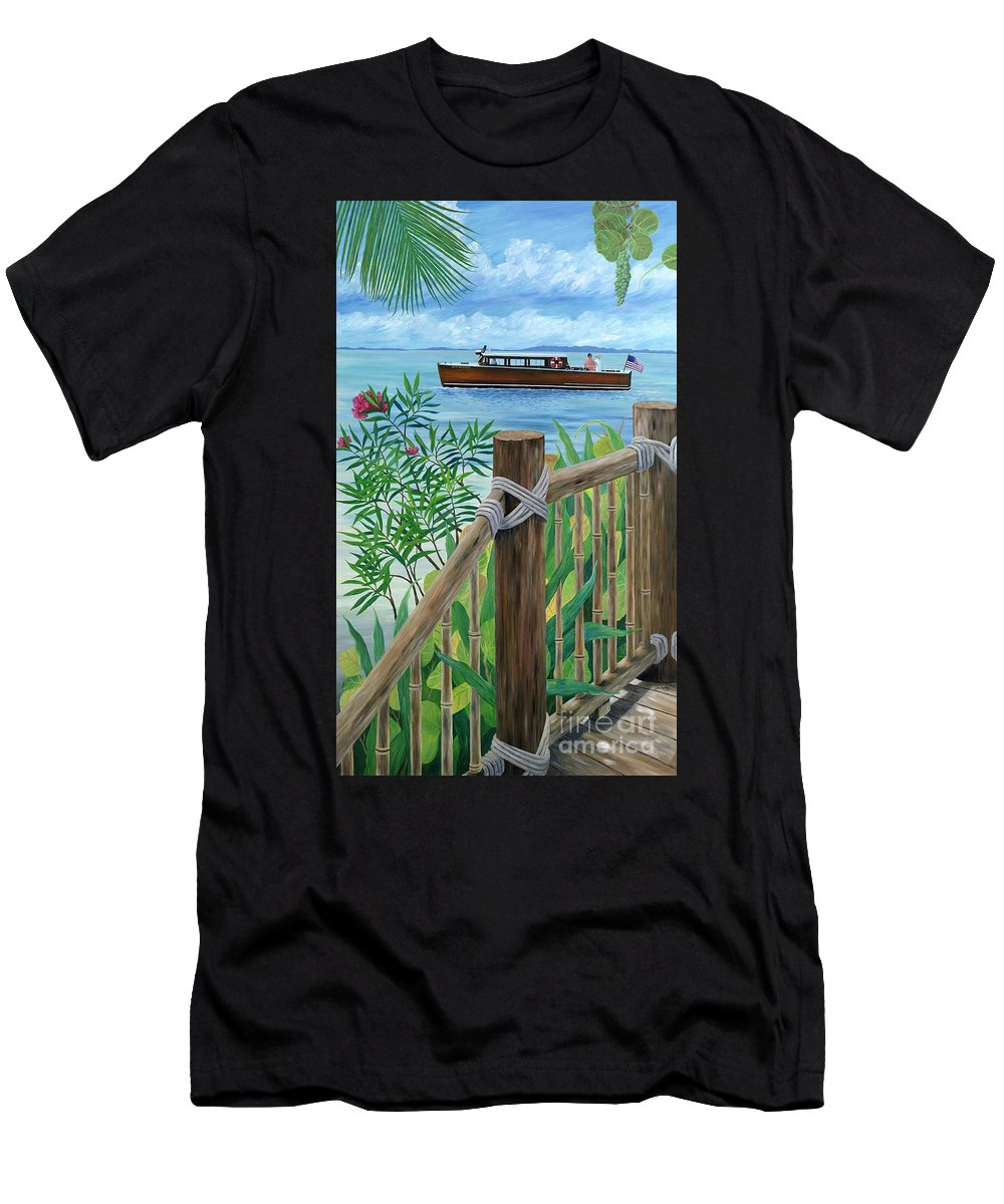 Island Men's T-Shirt (Athletic Fit) featuring the painting Little Palm Island by Danielle Perry