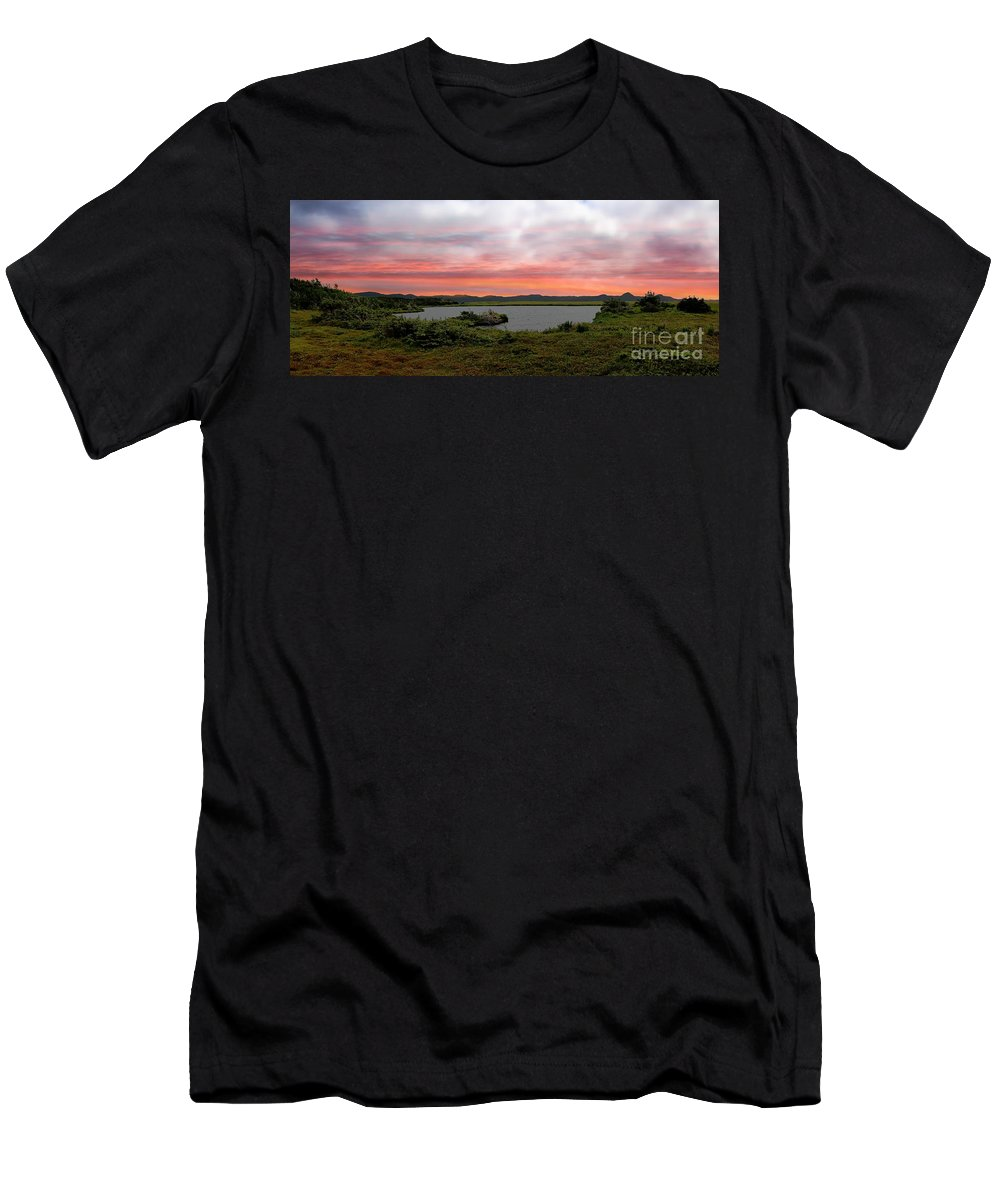 Little Pond Near The Ocean Panorama Men's T-Shirt (Athletic Fit) featuring the photograph Little Pond Near The Ocean Panorama by Barbara Griffin