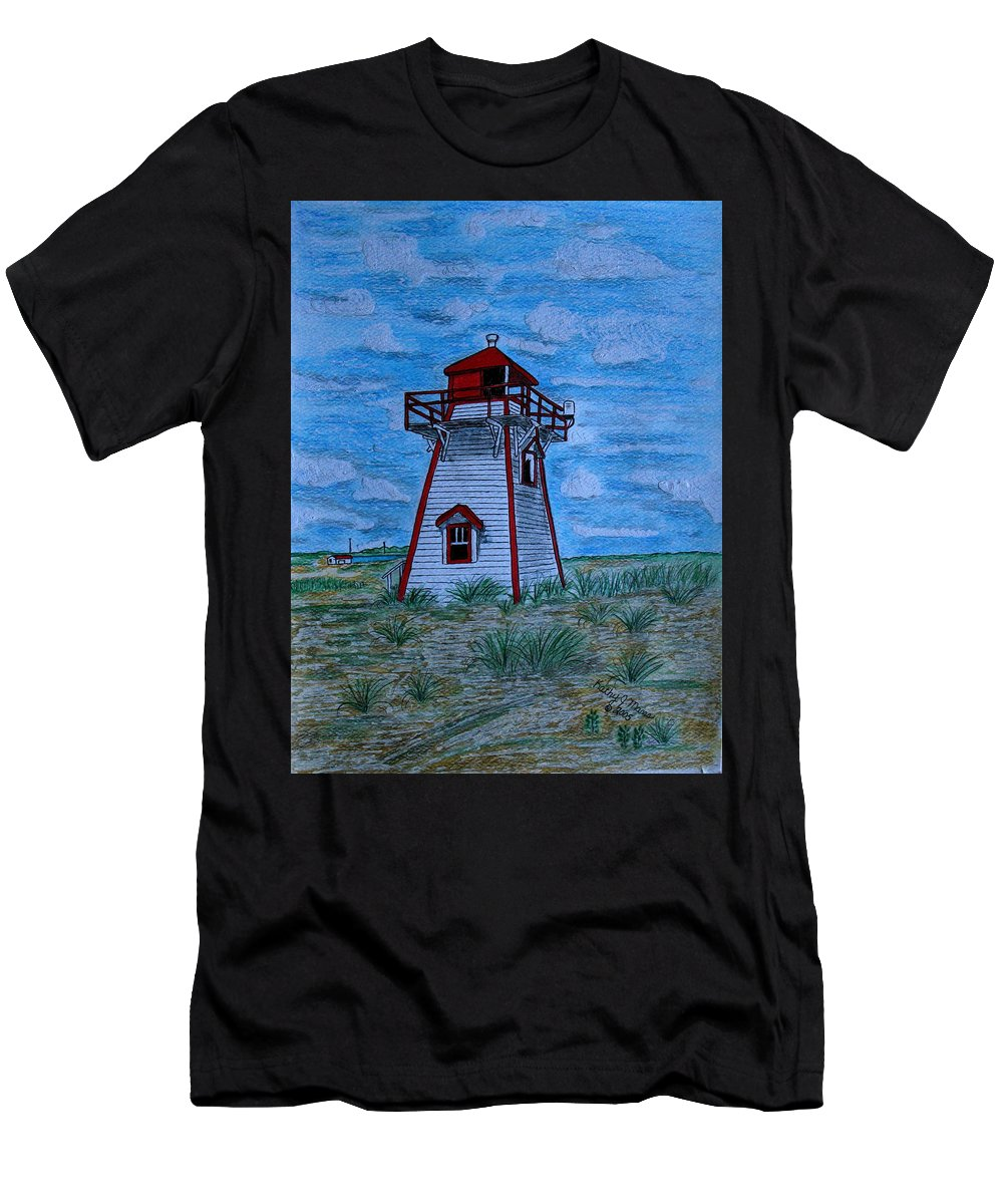 Red Men's T-Shirt (Athletic Fit) featuring the painting Little Red And White Lighthouse by Kathy Marrs Chandler