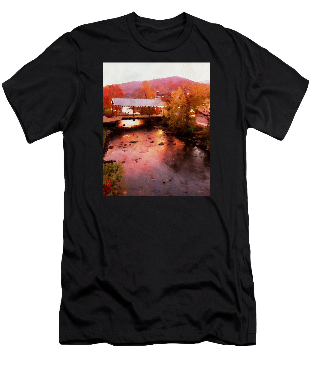 Little River Bridge Gatlinburg Men's T-Shirt (Athletic Fit) featuring the photograph Little River Bridge At Sunset Gatlinburg by Rebecca Korpita
