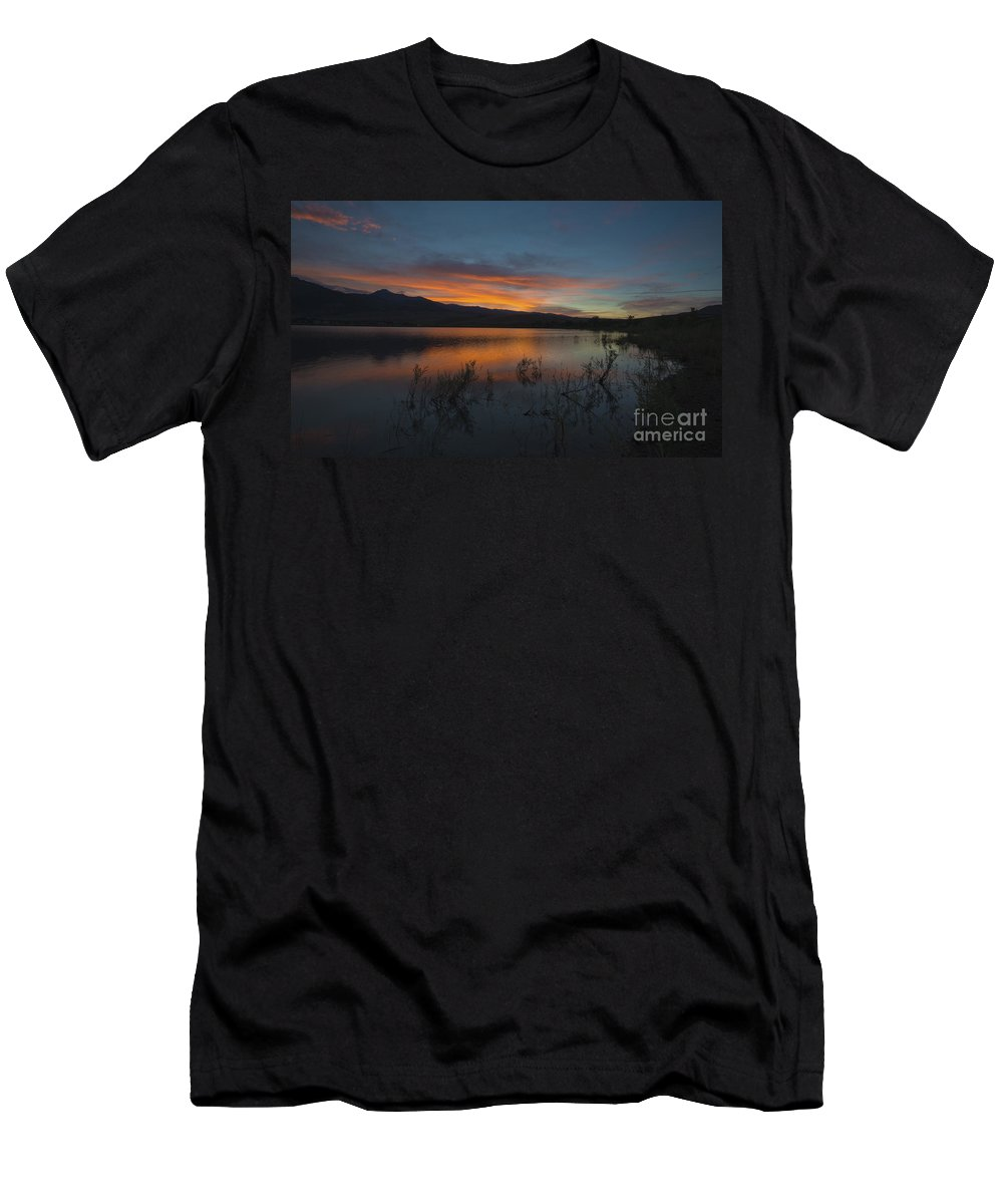 Sky Men's T-Shirt (Athletic Fit) featuring the photograph Little Washoe Sunset II by Dianne Phelps