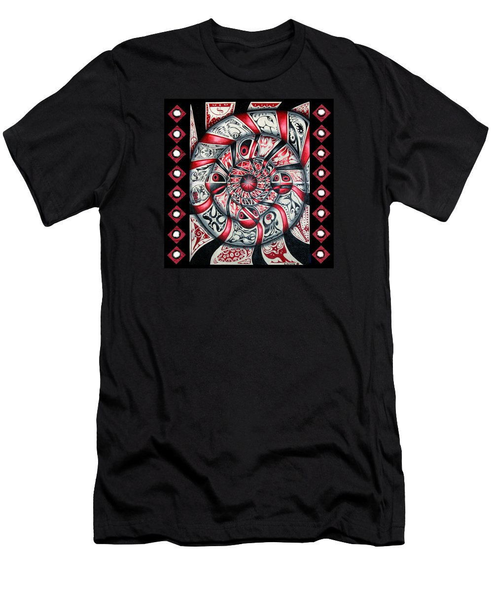 Native American Men's T-Shirt (Athletic Fit) featuring the painting Living Spiral by Kevin Chasing Wolf Hutchins