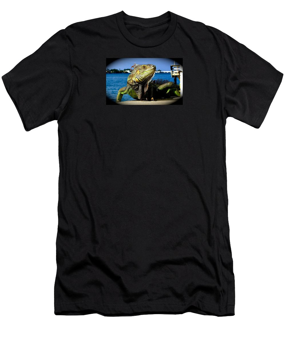 Lizard Print Men's T-Shirt (Athletic Fit) featuring the photograph Lizard Sunbathing In Miami by Monique's Fine Art