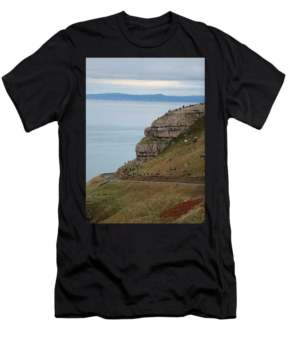Sea Men's T-Shirt (Athletic Fit) featuring the photograph Llandudno by Pawel Grabowski