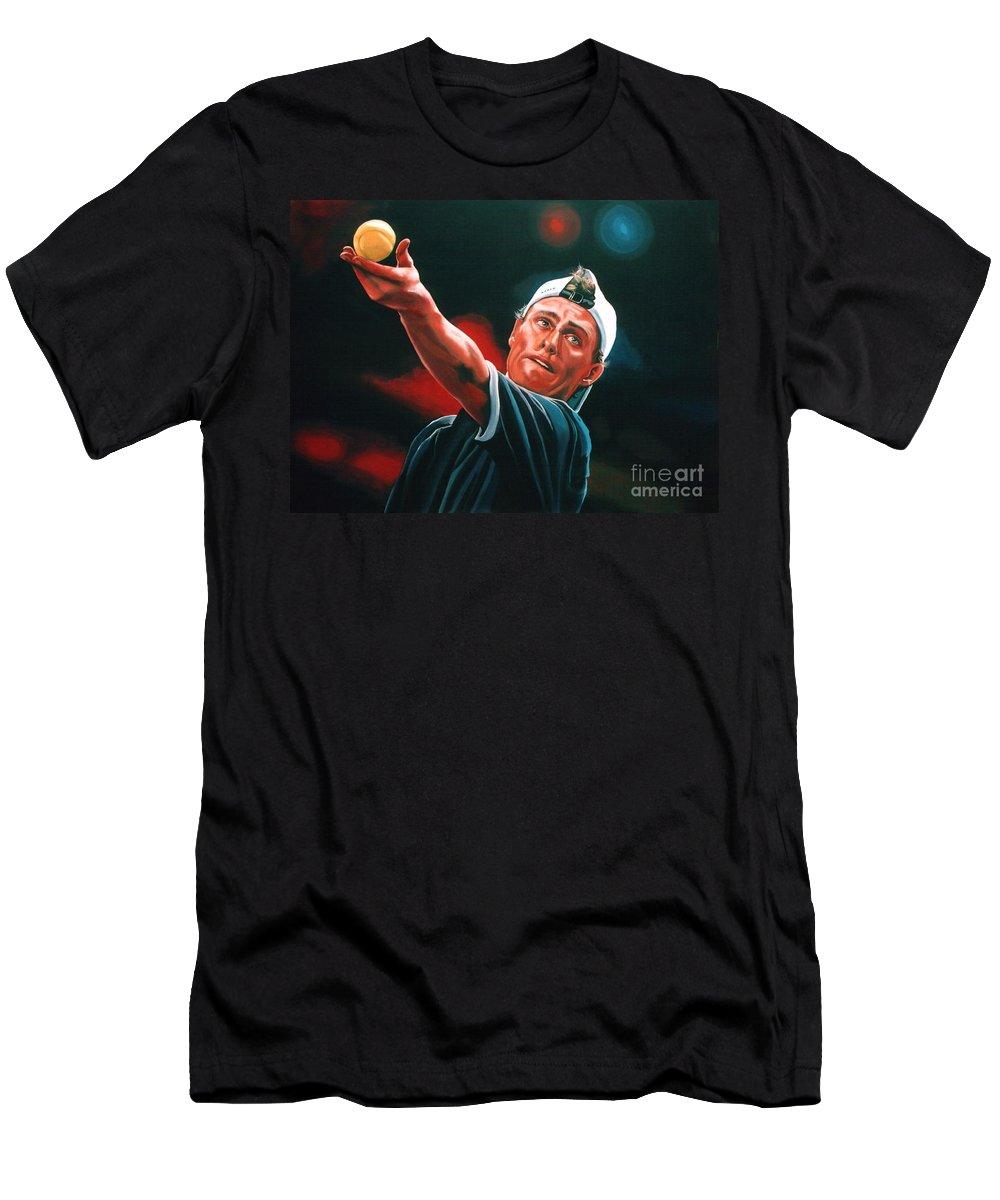 Lleyton Hewitt Men's T-Shirt (Athletic Fit) featuring the painting Lleyton Hewitt 2 by Paul Meijering