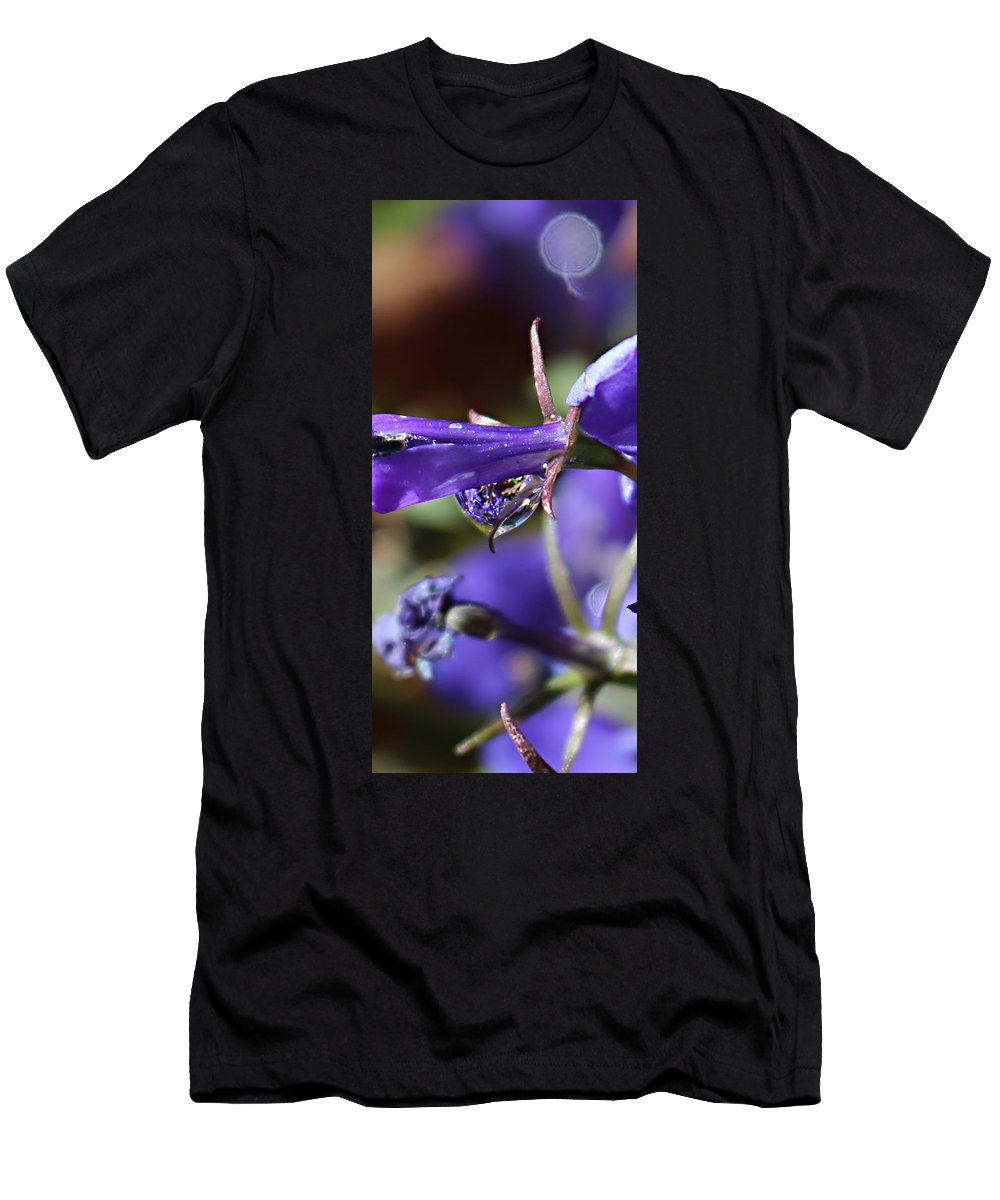 Purple Drop Men's T-Shirt (Athletic Fit) featuring the photograph Lobelia Drop by Kume Bryant
