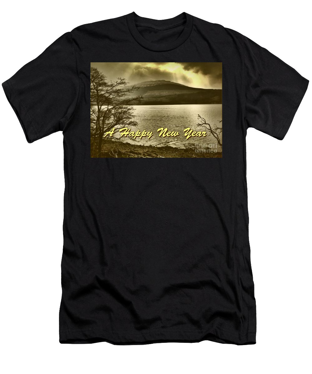 New Year Men's T-Shirt (Athletic Fit) featuring the photograph Loch Lomond New Year Greeting by Joan-Violet Stretch