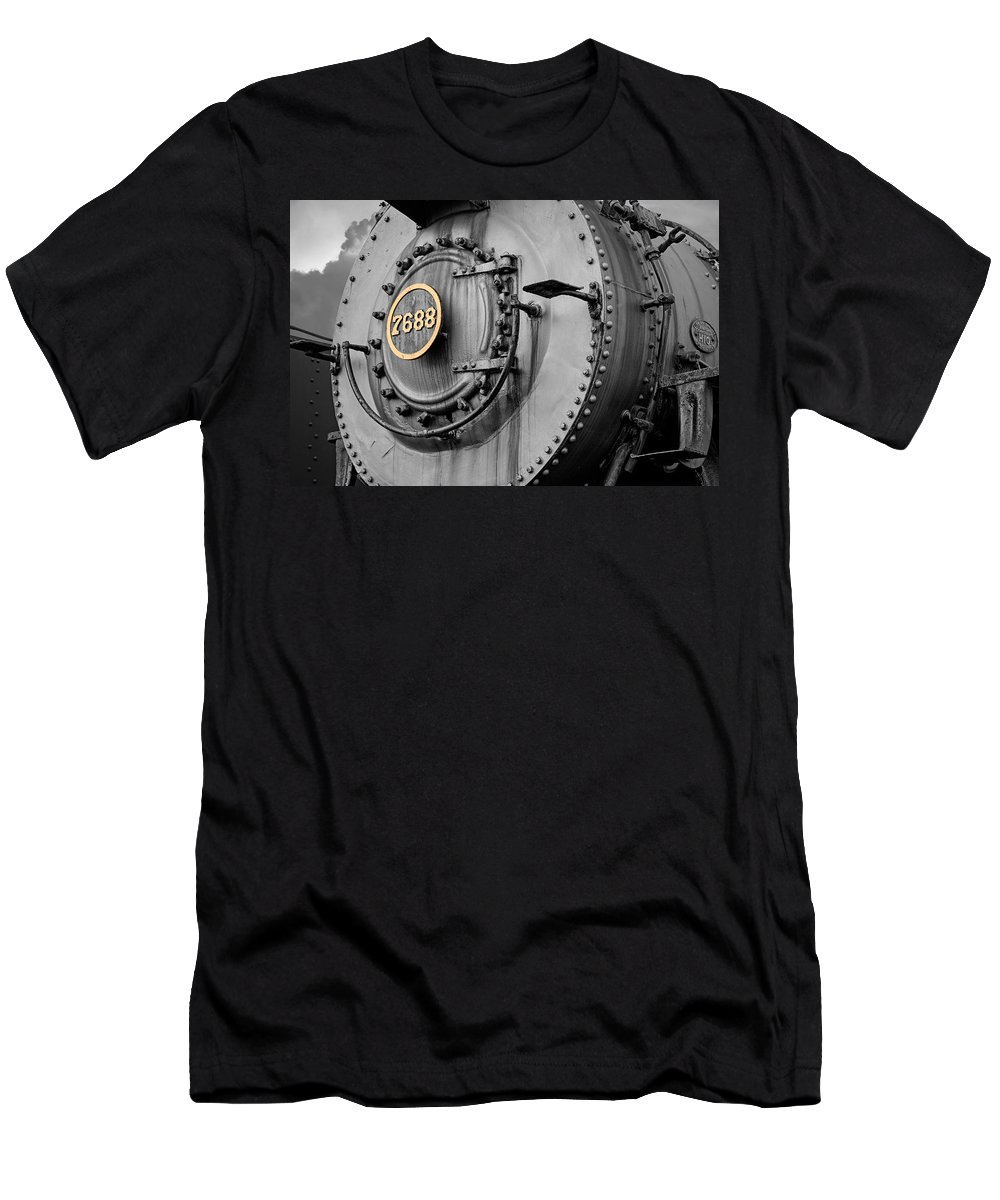 Engine Men's T-Shirt (Athletic Fit) featuring the photograph Locomotive Engine 7688 by Michael Porchik