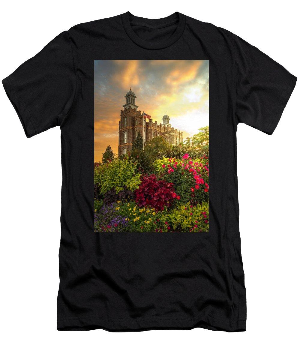 Logan Temple Men's T-Shirt (Athletic Fit) featuring the photograph Logan Temple Garden by Dustin LeFevre