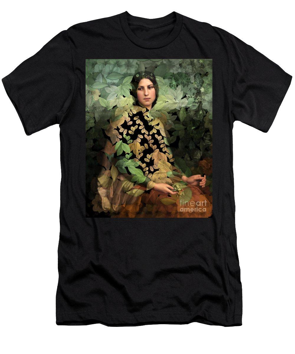 Portrait Men's T-Shirt (Athletic Fit) featuring the digital art Lolita - Des Femmes Et Des Fleurs 0102 by Aimelle
