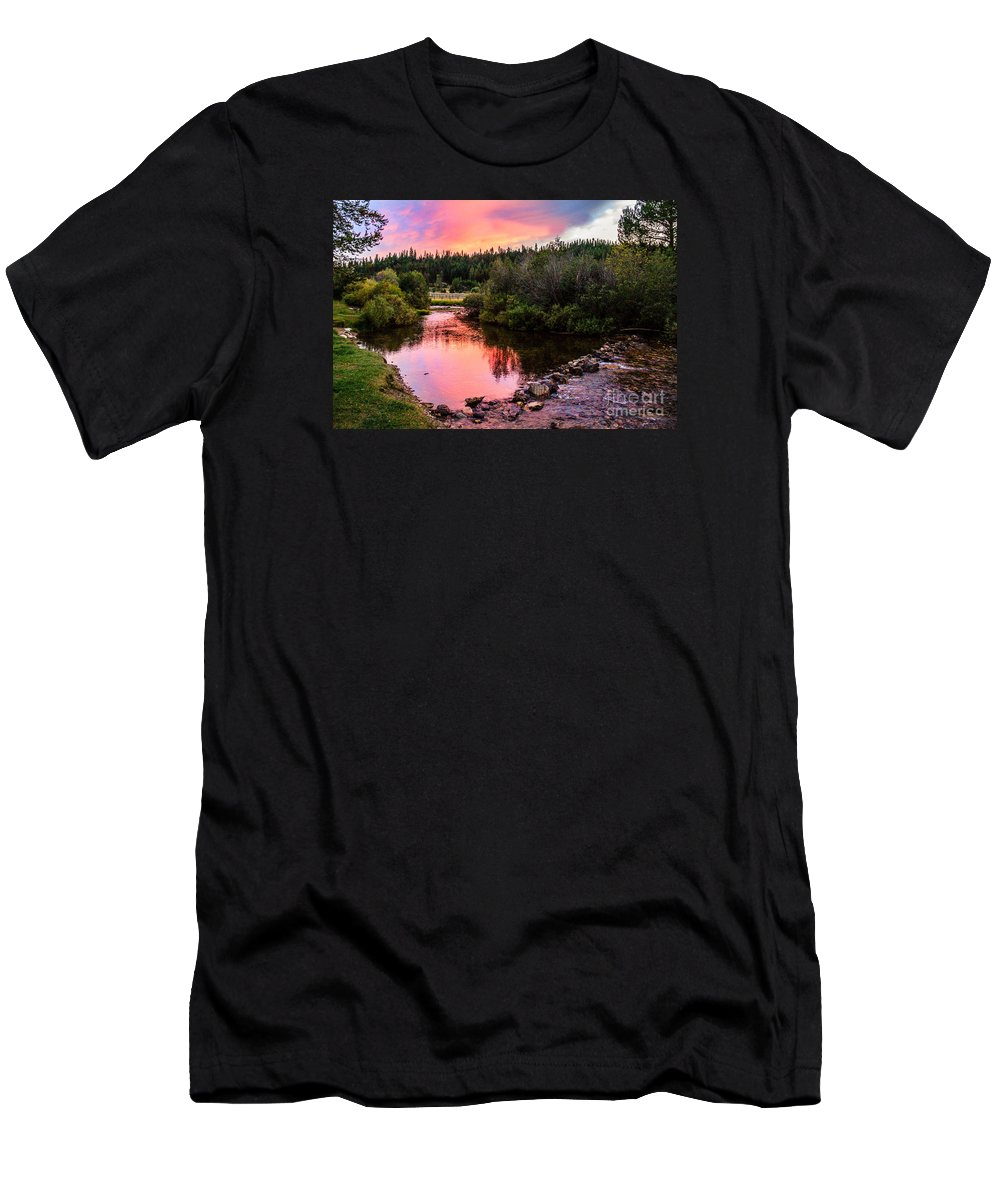 Hot Men's T-Shirt (Athletic Fit) featuring the photograph Lolo Hot Springs Creek by Robert Bales