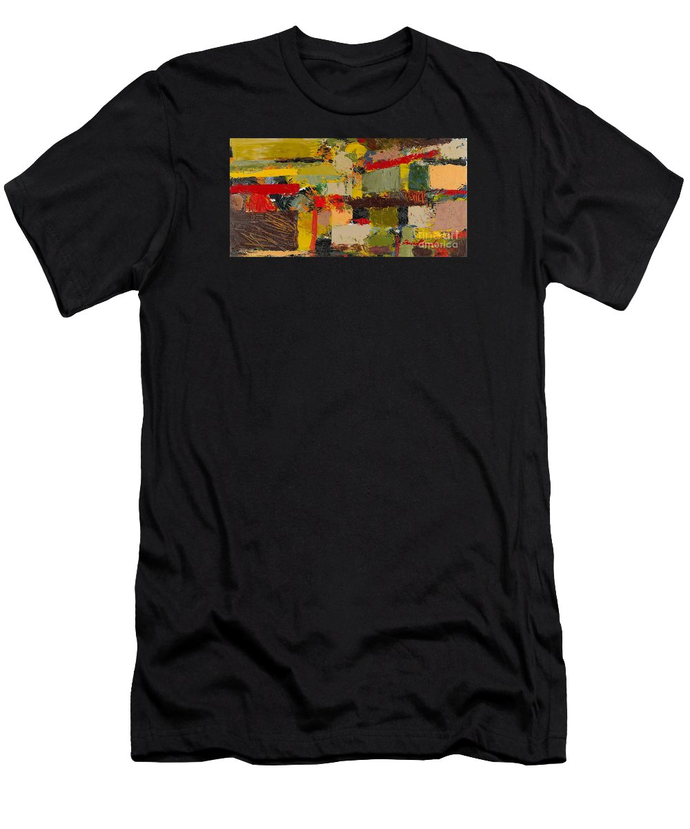 Landscape Men's T-Shirt (Athletic Fit) featuring the painting Lombard At Fillmore by Allan P Friedlander