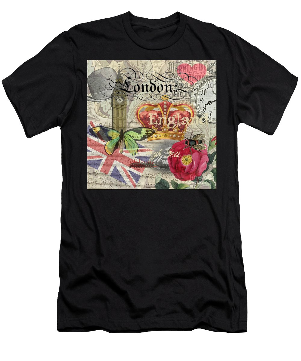 Doodlefly Men's T-Shirt (Athletic Fit) featuring the digital art London England Vintage Travel Collage by Mary Hubley