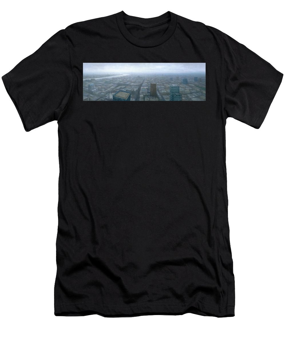 London Men's T-Shirt (Athletic Fit) featuring the painting London Skyline Cityscape by Steve Mitchell