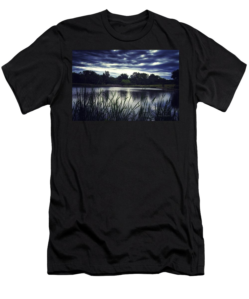 Storm Men's T-Shirt (Athletic Fit) featuring the photograph Lone Duck At Dusk by Thomas Woolworth