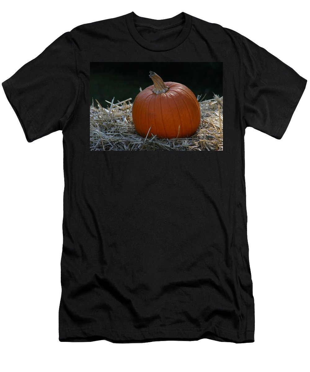 Harvest Men's T-Shirt (Athletic Fit) featuring the photograph Lone Pumpkin by Denyse Duhaime