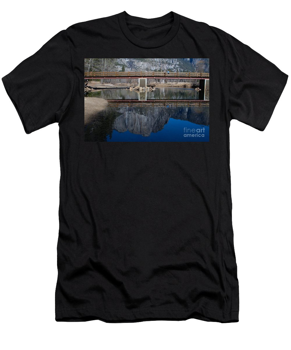 California Men's T-Shirt (Athletic Fit) featuring the photograph Lone Tourist And Yosemite Falls Reflection by Dan Hartford