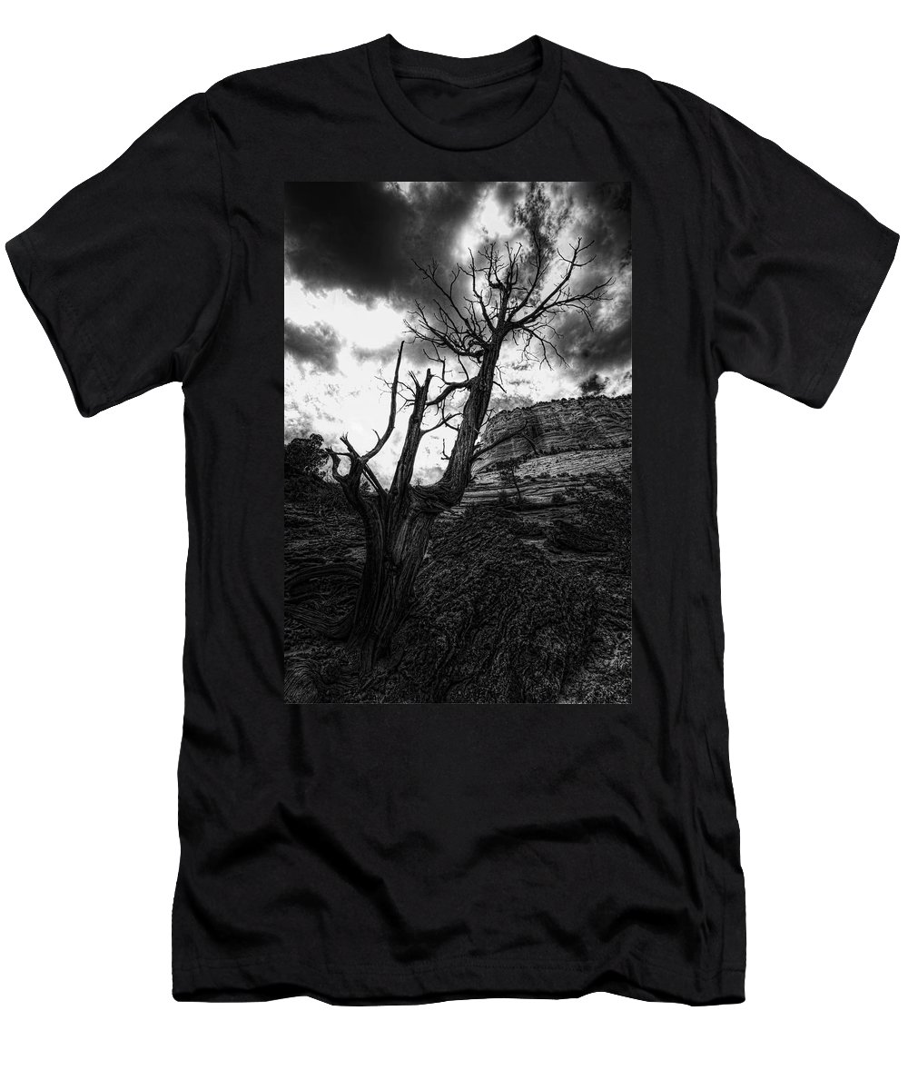 Zion National Park Men's T-Shirt (Athletic Fit) featuring the photograph Lonely by Jonathan Davison