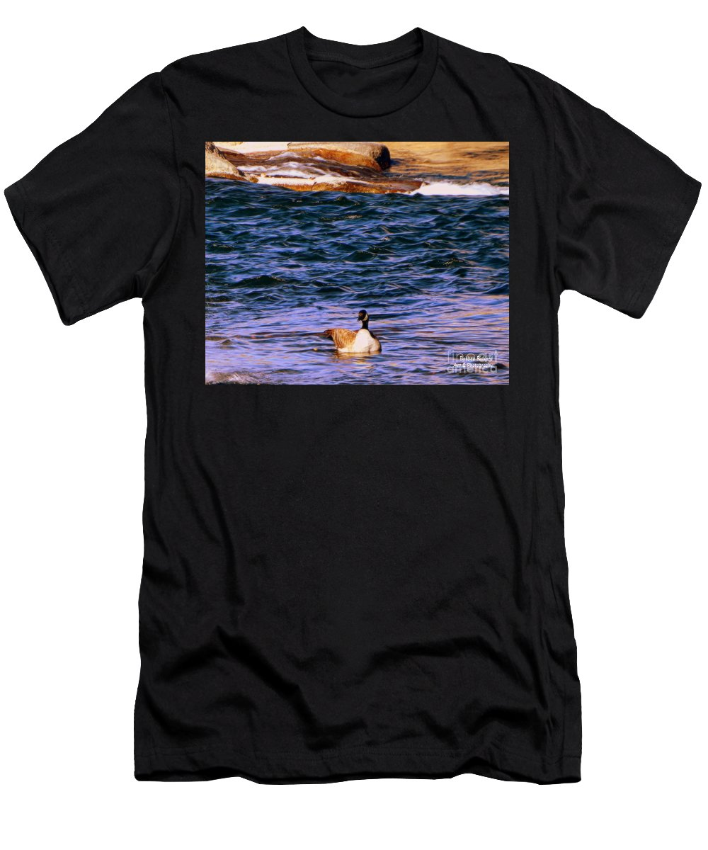 Acrylic Prints Men's T-Shirt (Athletic Fit) featuring the photograph Lonely Swimmer by Bobbee Rickard