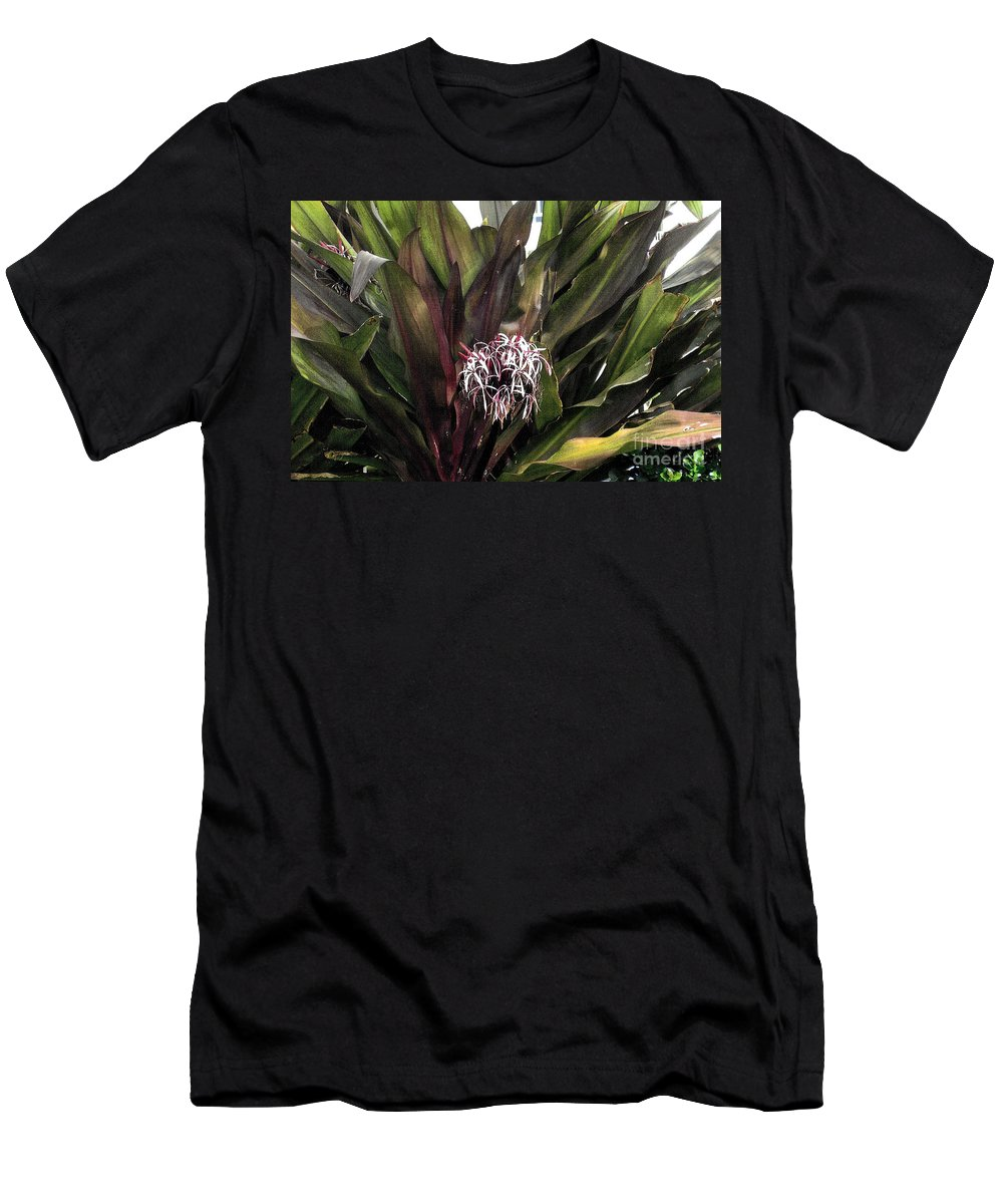Long Green Twisted Leaves Men's T-Shirt (Athletic Fit) featuring the photograph Long Leaf Explosion by Jane Butera Borgardt